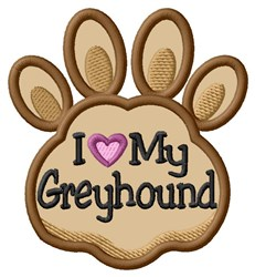 Love My Greyhound Paw Applique embroidery design