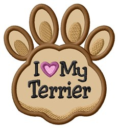Love My Terrior Paw Applique embroidery design