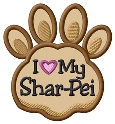 Love My Shar-Pei Paw Applique embroidery design
