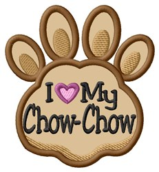 Love My Chow-Chow Paw Applique embroidery design