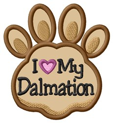 Love My Dalmation Paw Applique embroidery design