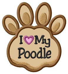 Love My Poodle Paw Applique embroidery design