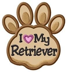 Love My Retriever Paw Applique embroidery design