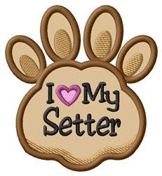 Love My Setter Paw Applique embroidery design