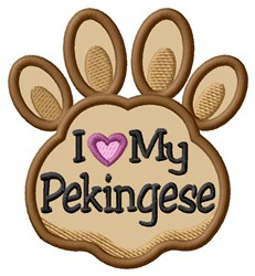 Love My Pekingese Paw Applique embroidery design