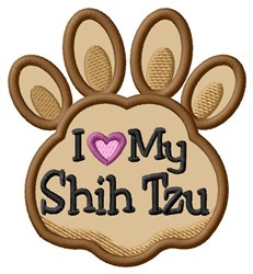 Love My Shis Tzu Paw Applique embroidery design