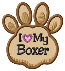 Love My Boxer Paw Applique embroidery design
