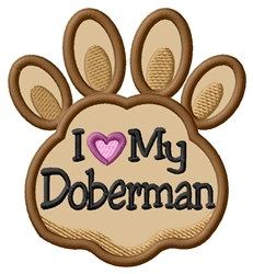 Love My Doberman Paw Applique embroidery design
