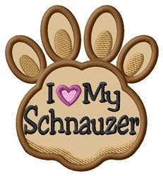 Love My Schnauzer Paw Applique embroidery design