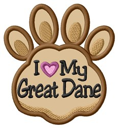 Love My Great Dane Paw Applique embroidery design