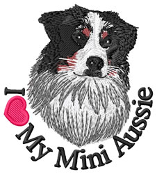 I Love My Mini Aussie embroidery design