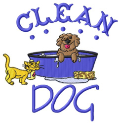 Clean Dog embroidery design