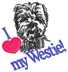 I Love My Westie embroidery design