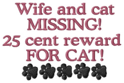 25 cent Reward for Cat embroidery design