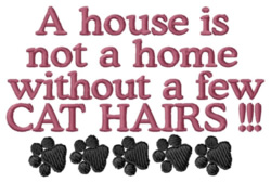 Home with Cat Hairs embroidery design