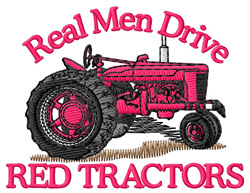 Drive Red Tractors embroidery design