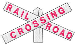 Railroad Crossing Sign embroidery design