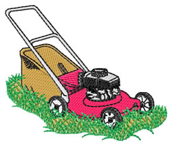 Mower embroidery design
