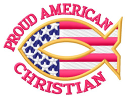 Proud American Christian embroidery design