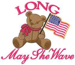 Long May She Wave embroidery design