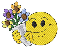 Smiley with Flowers embroidery design