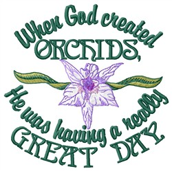 God Created Orchids embroidery design