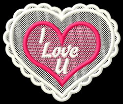 FSL I Love U embroidery design
