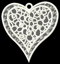 FSL Floral Heart Ornament embroidery design