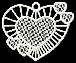 FSL Hearts Ornament embroidery design