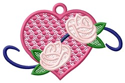 FSL Heart with Roses Ornament embroidery design