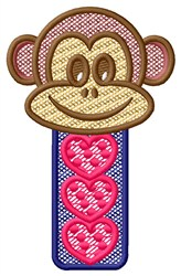 Monkey Head Hearts embroidery design