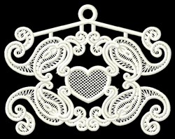 Paisley Heart Ornament embroidery design