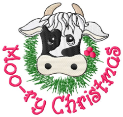 Moo-ry Christmas embroidery design