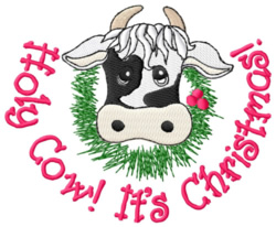 Holy Cow Its Christmas embroidery design