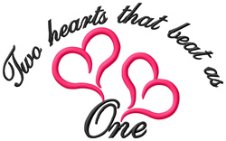Two Hearts That Beat as One embroidery design