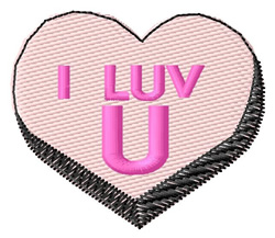 I Luv U embroidery design