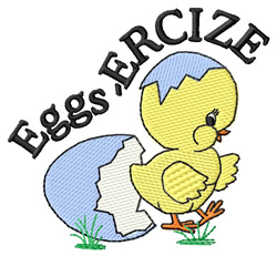 Eggs-ercize embroidery design