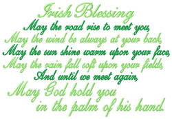 Irish Blessing embroidery design