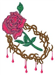 Crown And Rose embroidery design