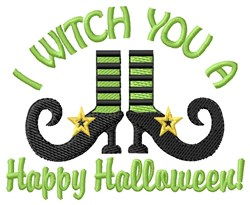 Happy Halloween Witch Shoe embroidery design