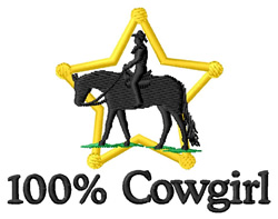 100% Cowgirl embroidery design