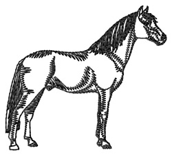 Barb Horse Silhouette embroidery design