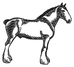 Clydesdale Silhouette embroidery design