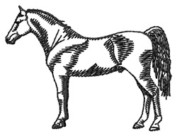 Hackney Horse Silhouette embroidery design