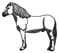 Highland Pony Silhouette embroidery design