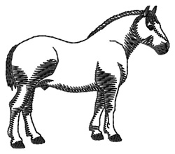 Percheron #2 Silhouette embroidery design