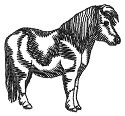 Shetland Pony Silhouette embroidery design