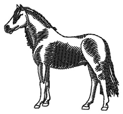 Welsh Pony Silhouette embroidery design