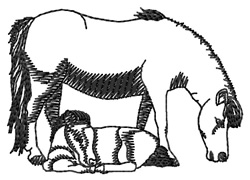 Miniature Pony Mom and Baby Silhouette embroidery design
