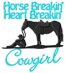Heart Breakin Cowgirl embroidery design